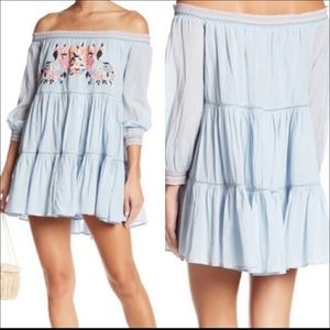 Free People Sunbeams Embroidered Off Shoulder XS